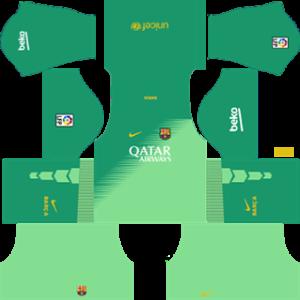 barcelona dls goalkeeper home kit 2014-2015
