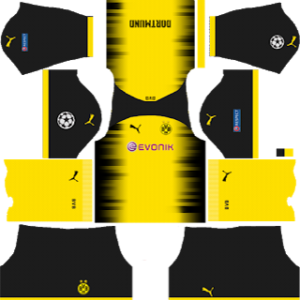 borussia dortmund UCL International shorts kit 2017-2018 dream league soccer