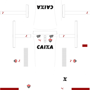 The home kit of EC Vitoria has a red color with light black strips. There is a logo of Caixa because Caixa is currently manufacturing the kit of the EC Vitoria Home Kit 512×512. Logo of Puma is also in the kit because Puma is there official sponsors.