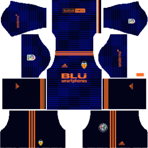 valencia away kit 2018-2019 dream league soccer