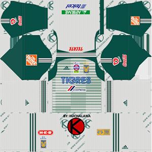 tigres uanl goalkeeper away kit 2018-2019 dream league soccer