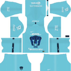 pumas unam goalkeeper home kit 2018-2019 dream league soccer