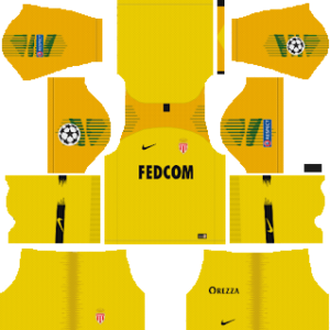 as monaco ucl goalkeeper away kit 2018-2019 dream league soccer
