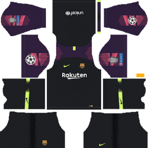 barcelona UEFA goalkeeper home kit 2018-2019 dream league soccer