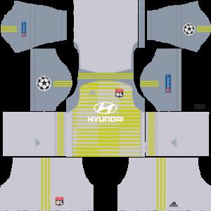 olympique lyon ucl goalkeeper away kit 2018-2019 dream league soccer