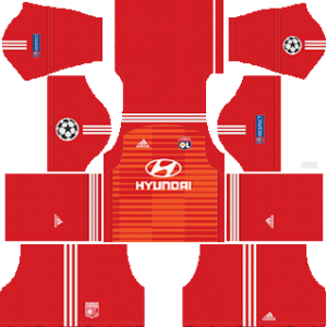 olympique lyon ucl goalkeeper home kit 2018-2019 dream league soccer
