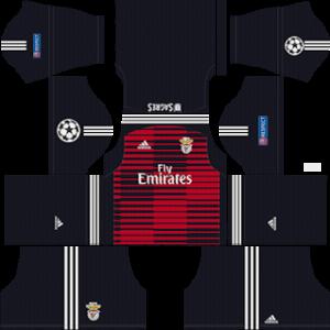 benfica ucl goalkeeper away kit 2018-2019 dream league soccer