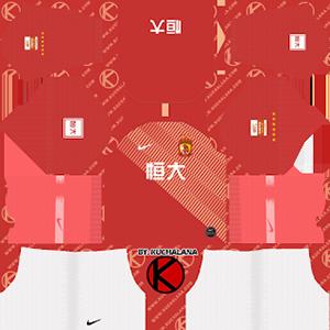 Guangzhou Evergrande Taobao FC acl home kit 2019-2020 dream league soccer