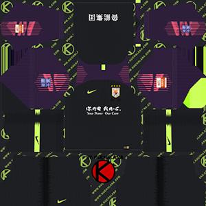 Shandong Luneng Taishan FC goalkeeper away kit 2019-2020 dream league soccer