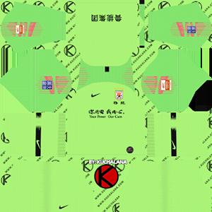 Shandong Luneng Taishan FC goalkeeper home kit 2019-2020 dream league soccer