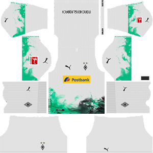 borussia monchengladbach goalkeeper home kit 2019-2020 dream league soccer