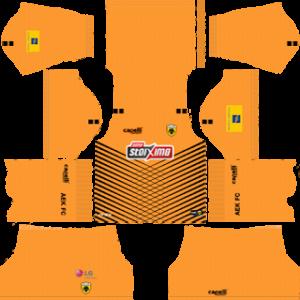 AEK F.C goalkeeper home kit 2019-2020 dream league soccer